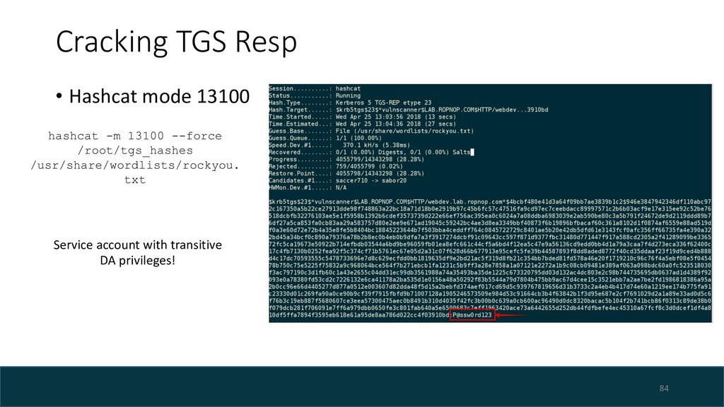 Cracking TGS Resp • Hashcat mode 13100 84 hashc...
