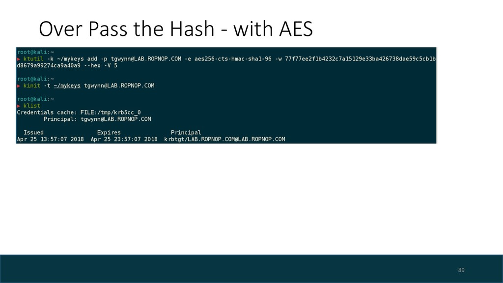 Over Pass the Hash - with AES 89