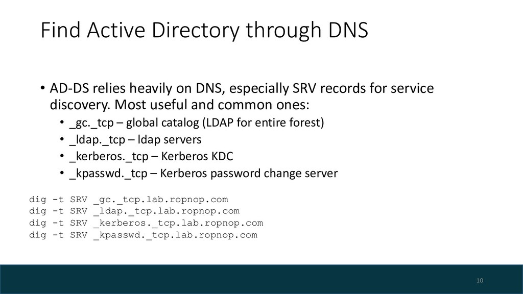 Find Active Directory through DNS • AD-DS relie...