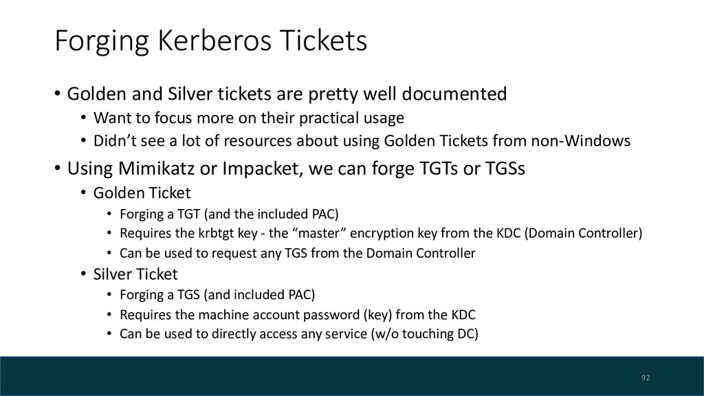 Forging Kerberos Tickets • Golden and Silver ti...