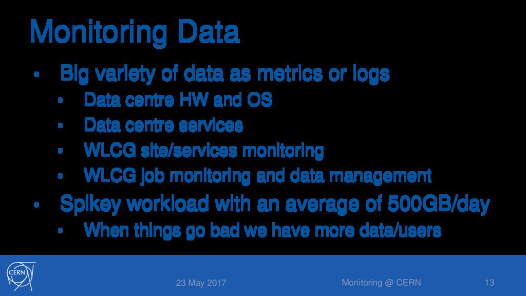 Monitoring Data • Big variety of data as metric...