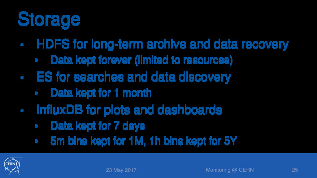 Storage • HDFS for long-term archive and data r...