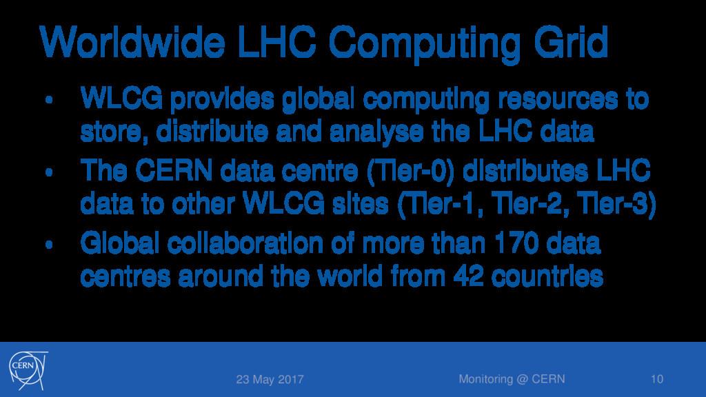Worldwide LHC Computing Grid • WLCG provides gl...