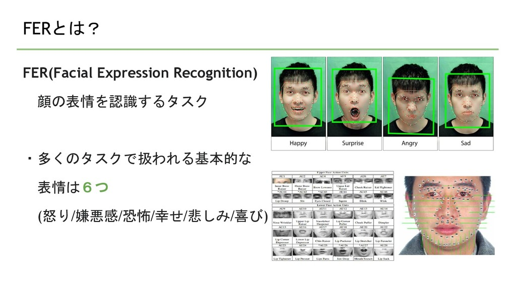 FERとは? FER(Facial Expression Recognition) 顔の表情を...