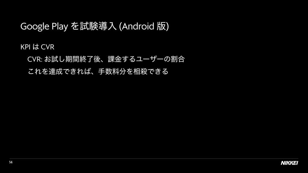 !14 Google Play Λࢼݧಋೖ (Android ൛) KPI  CVR  ɹ...