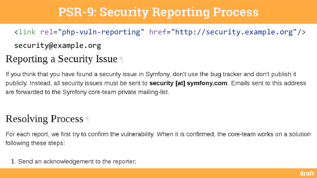 draft PSR-9: Security Reporting Process <link r...