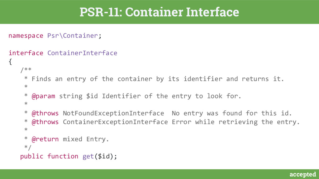 accepted PSR-11: Container Interface namespace ...