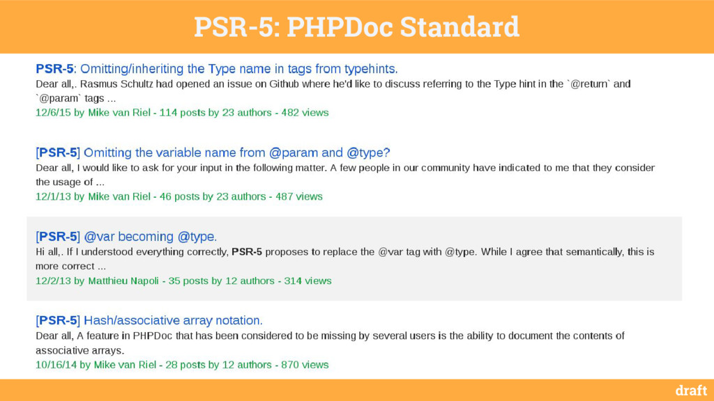 draft PSR-5: PHPDoc Standard /** * @method int ...