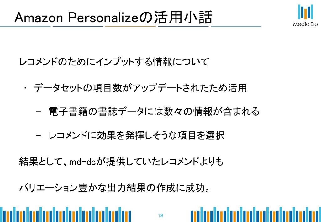 Amazon Personalizeの活用小話 18 レコメンドのためにインプットする情報...