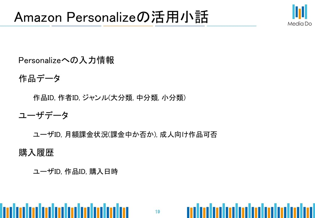 Amazon Personalizeの活用小話 19 Personalizeへの入力情報...