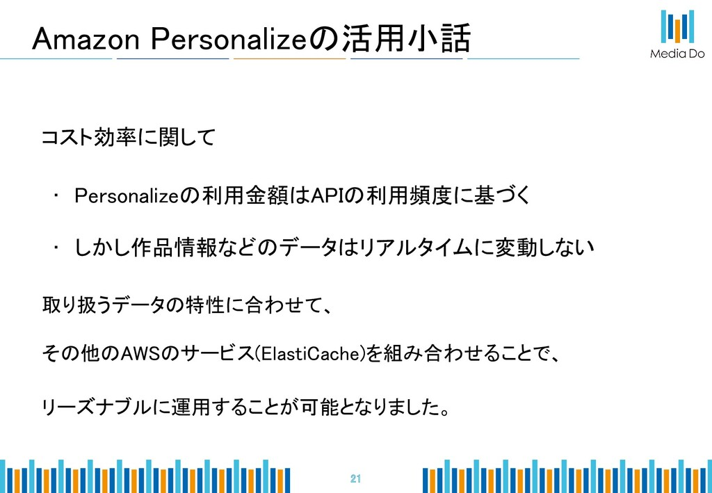 Amazon Personalizeの活用小話 21 コスト効率に関して • Perso...
