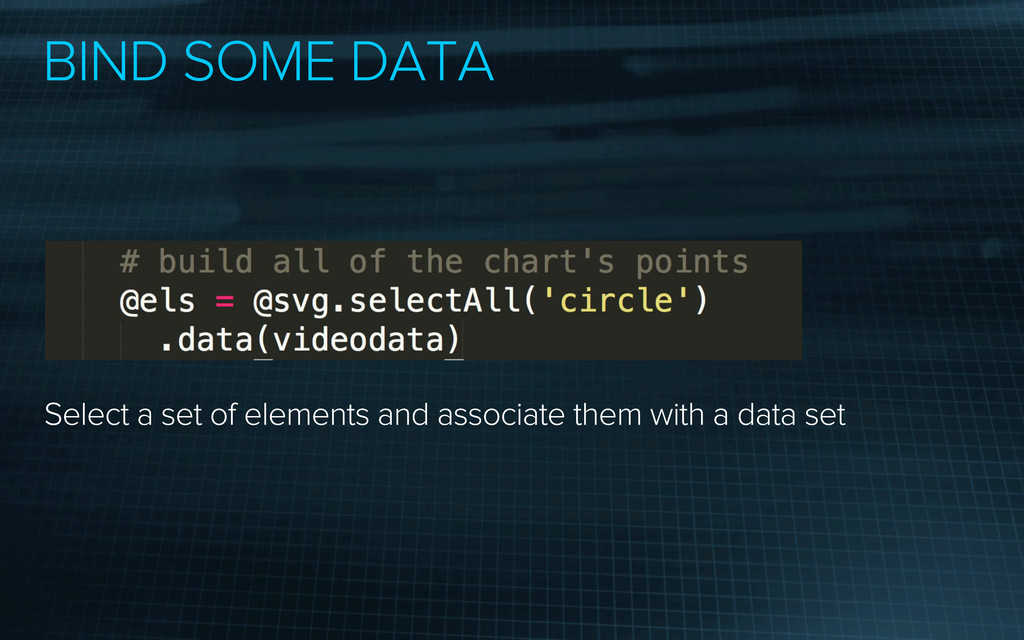 BIND SOME DATA Select a set of elements and ass...