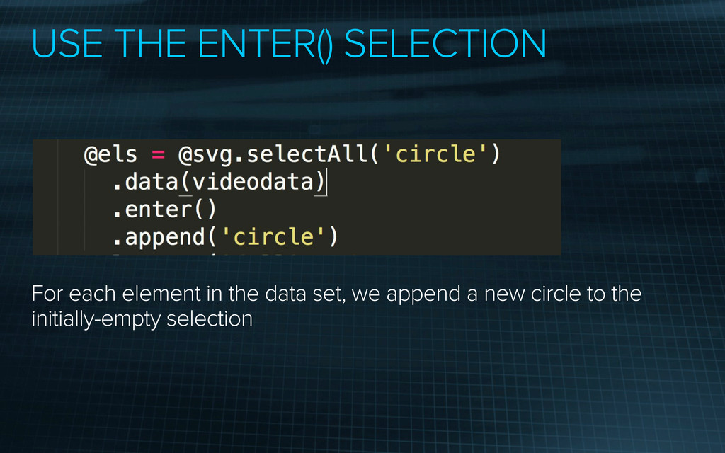 USE THE ENTER() SELECTION For each element in t...