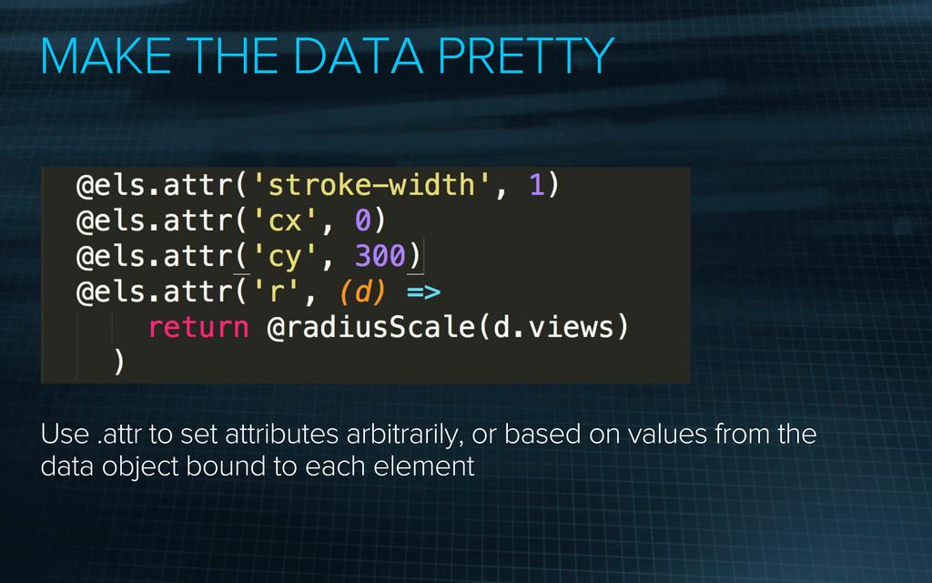 MAKE THE DATA PRETTY Use .attr to set attribute...