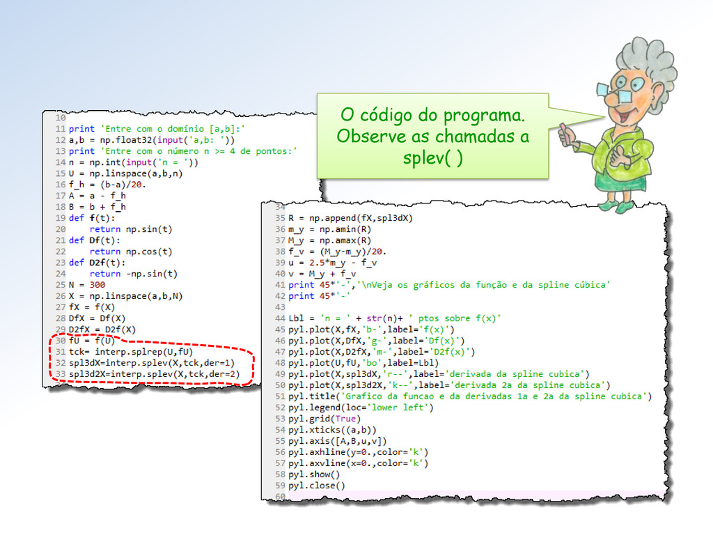 O código do programa. Observe as chamadas a spl...