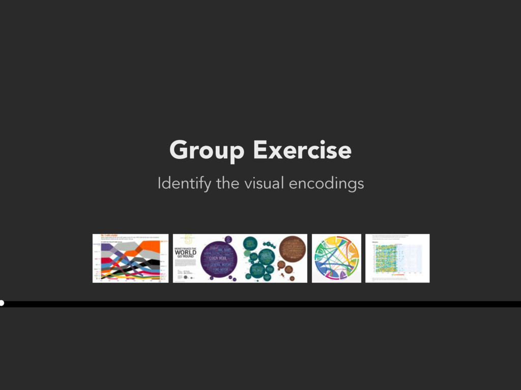 Group Exercise Identify the visual encodings •