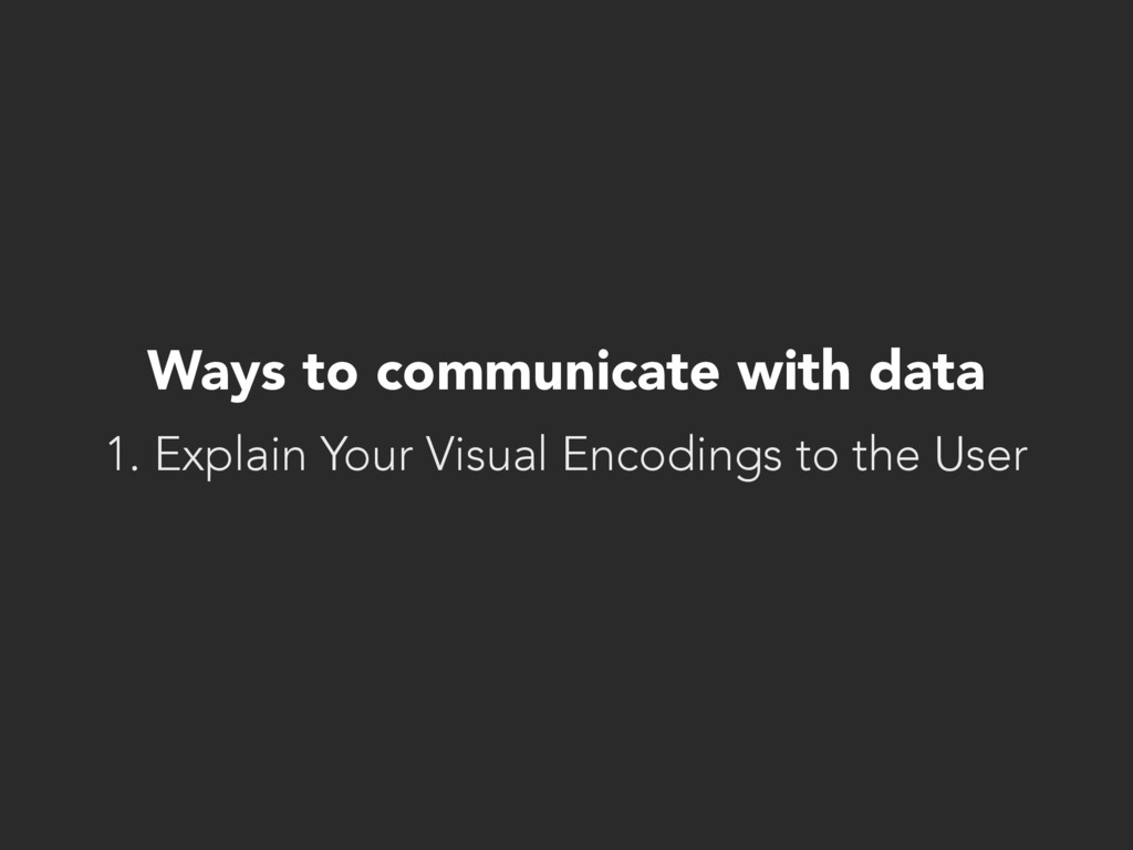Ways to communicate with data 1. Explain Your V...