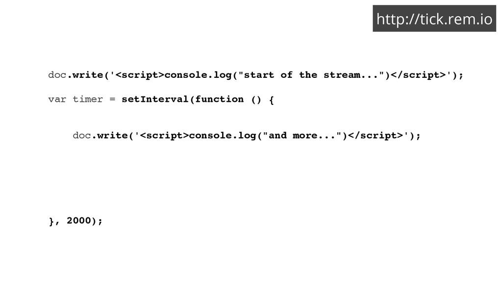 http://tick.rem.io doc.write('<script>console.l...