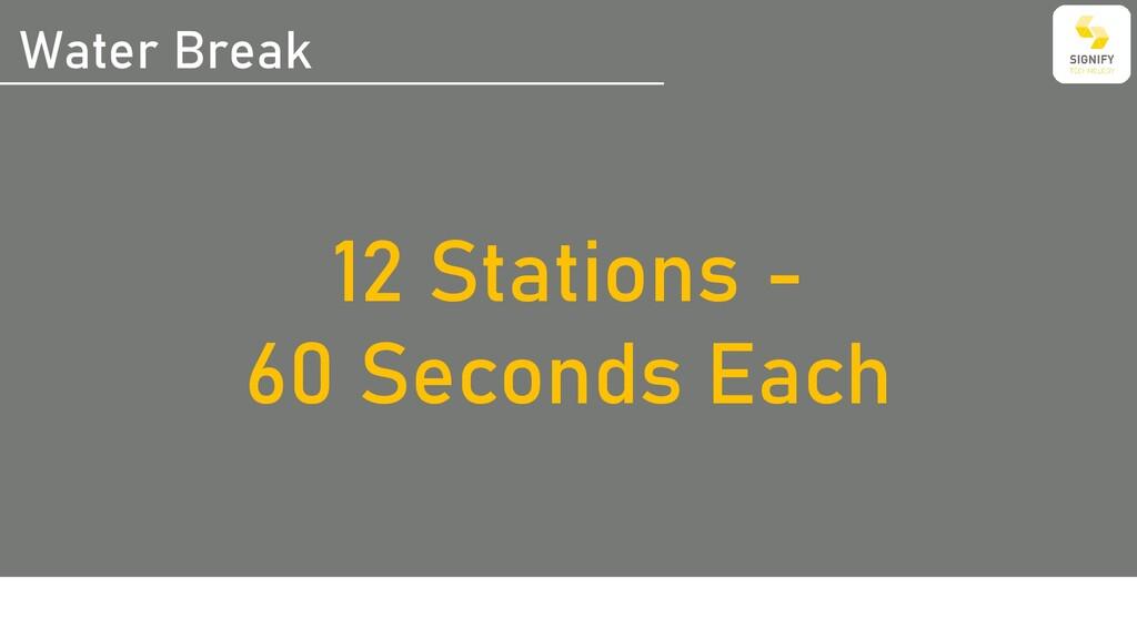 Water Break 12 Stations - 60 Seconds Each