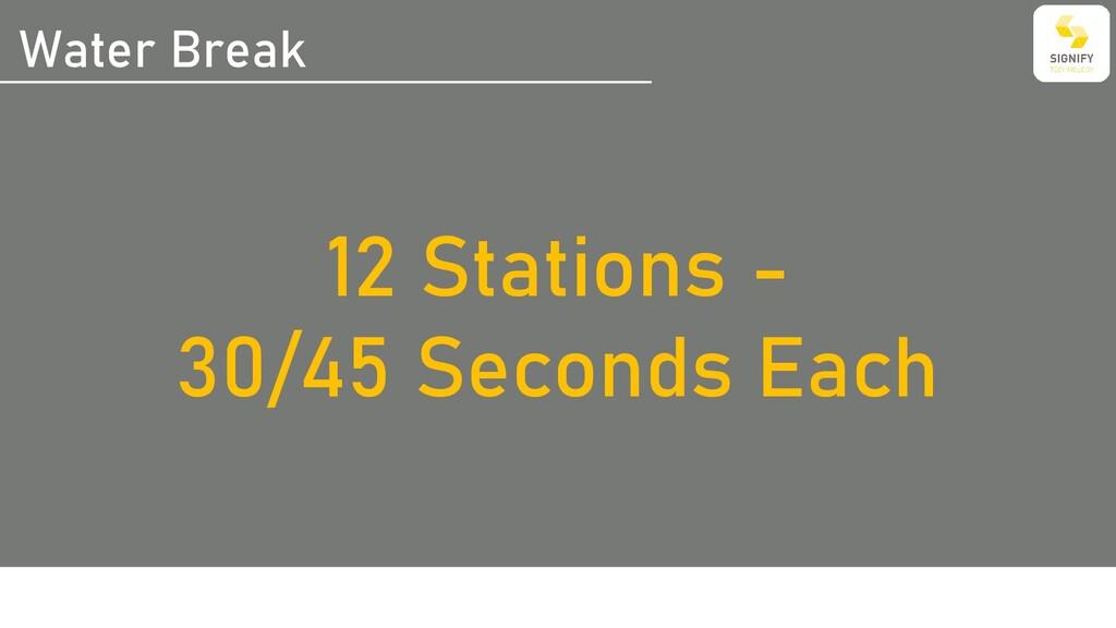 Water Break 12 Stations - 30/45 Seconds Each