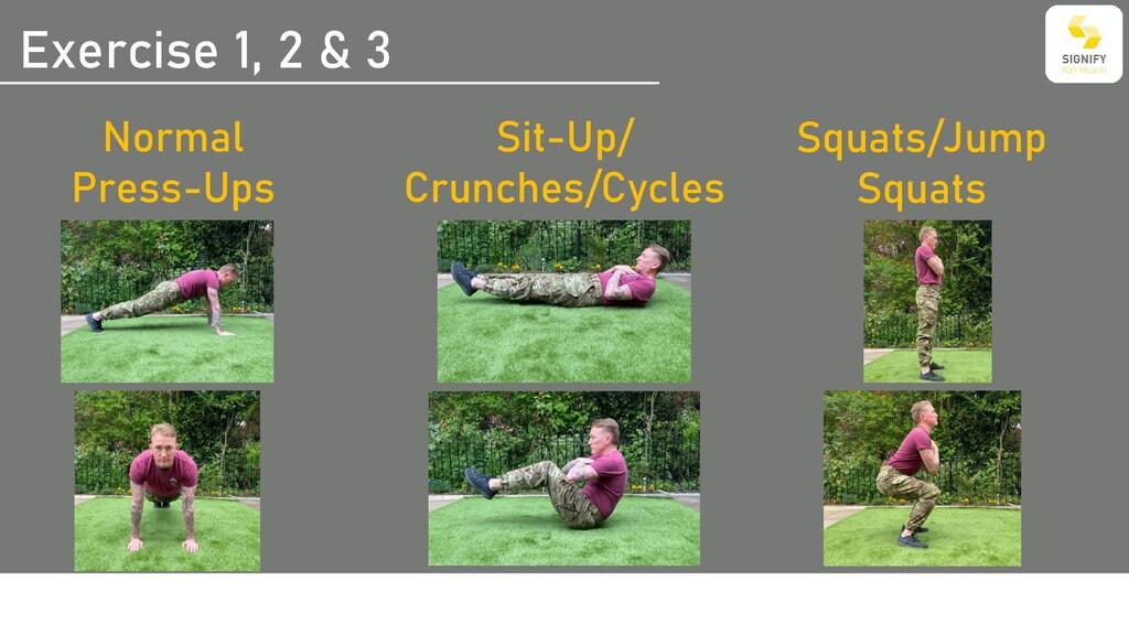Exercise 1, 2 & 3 Normal Press-Ups Sit-Up/ Crun...