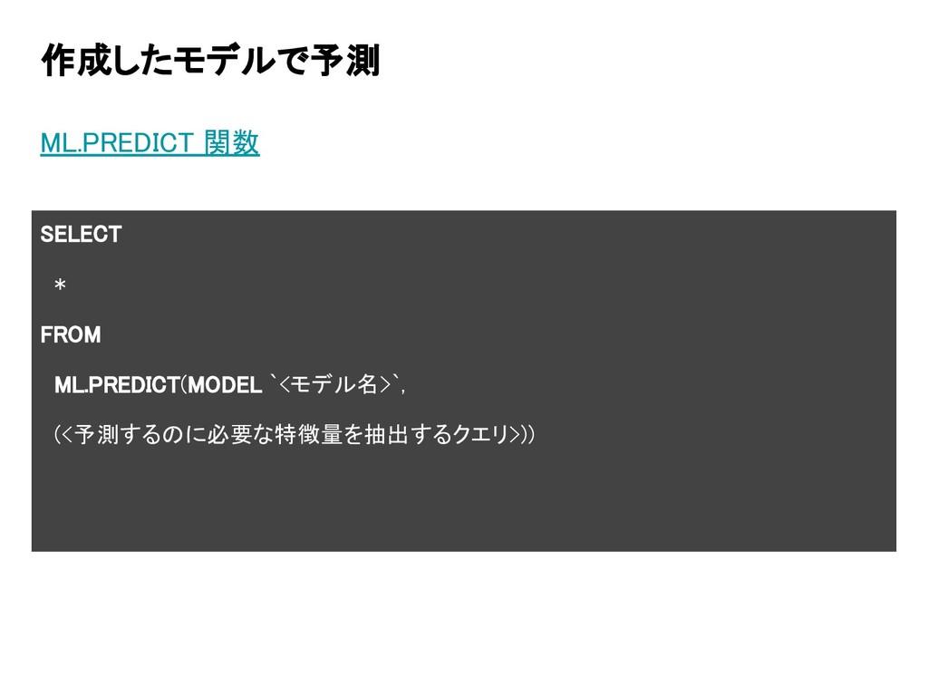 作成したモデルで予測 ML.PREDICT 関数 SELECT * FROM ML.PREDI...