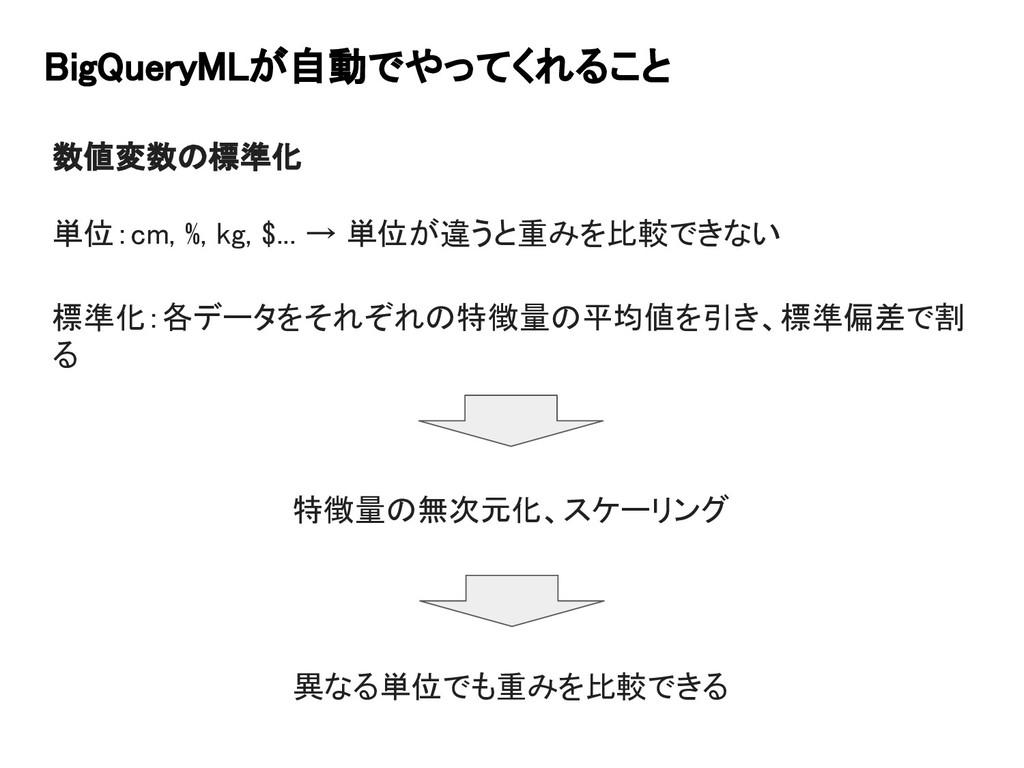 BigQueryMLが自動でやってくれること 数値変数の標準化 単位:cm, %, kg, $...