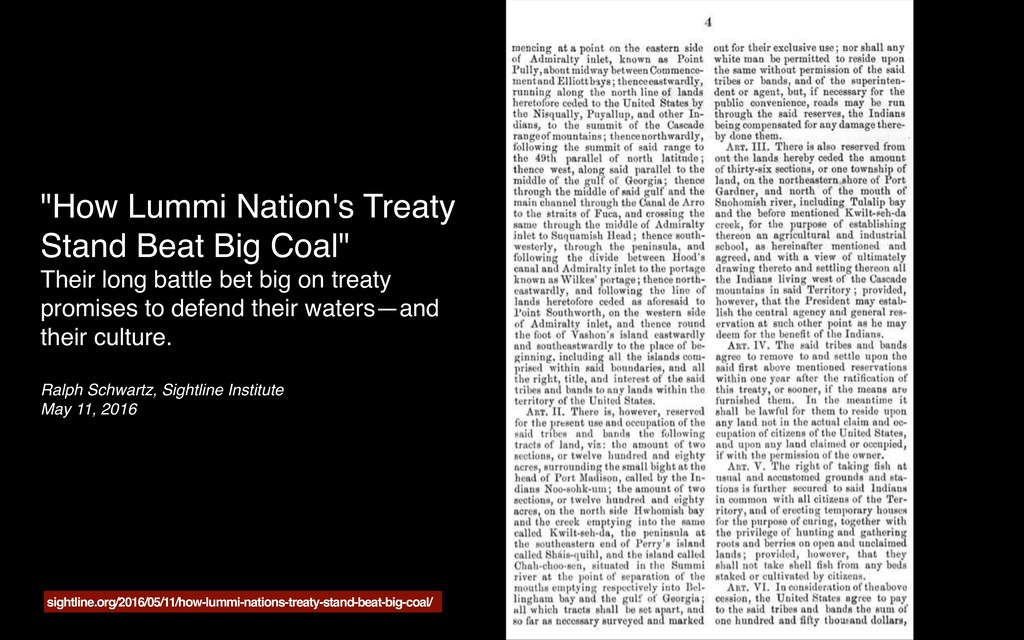 """How Lummi Nation's Treaty Stand Beat Big Coal""..."