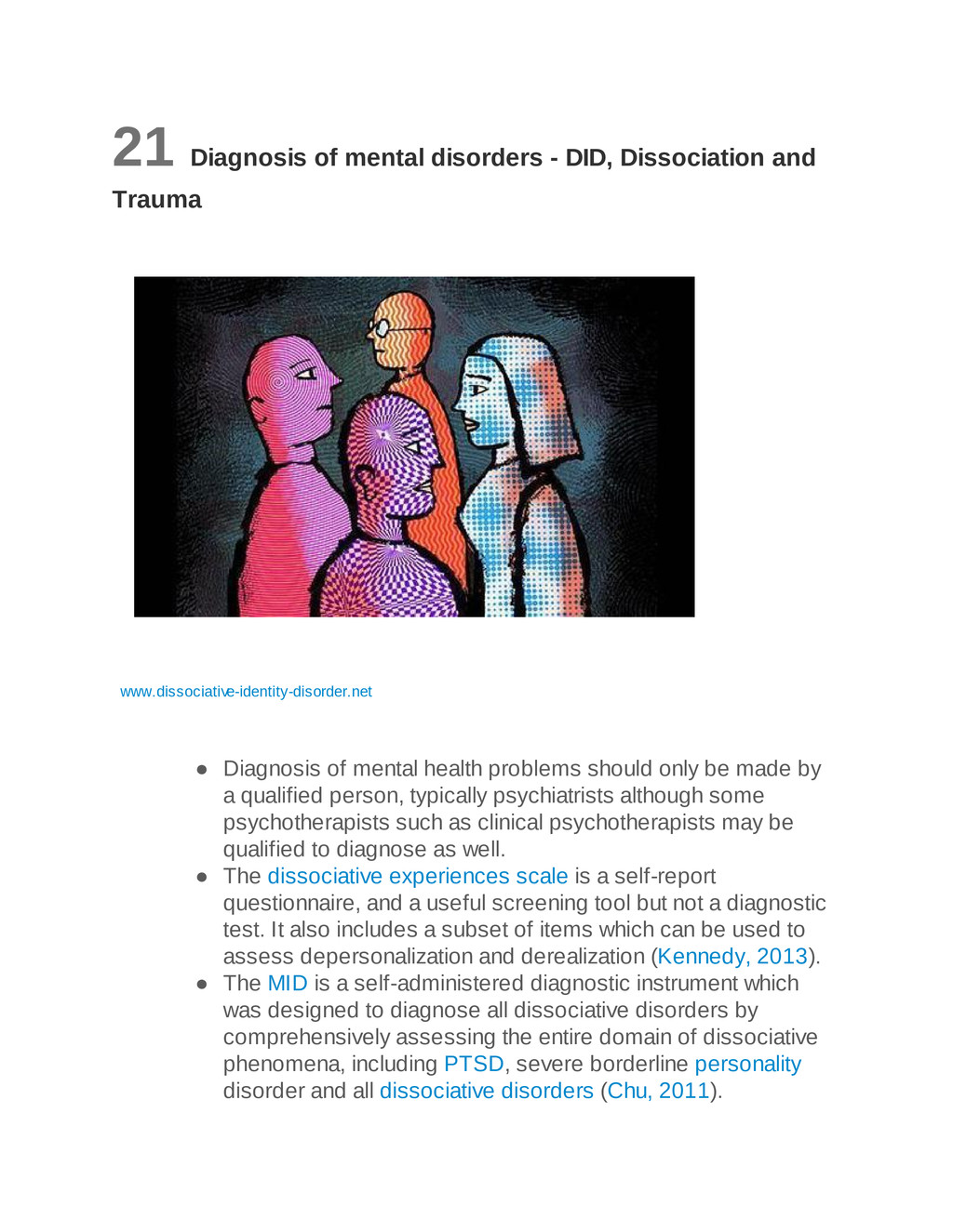 21 Diagnosis of mental disorders - DID, Dissoci...