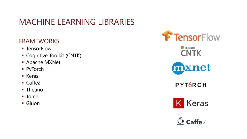 MACHINE LEARNING LIBRARIES FRAMEWORKS ▪ TensorF...