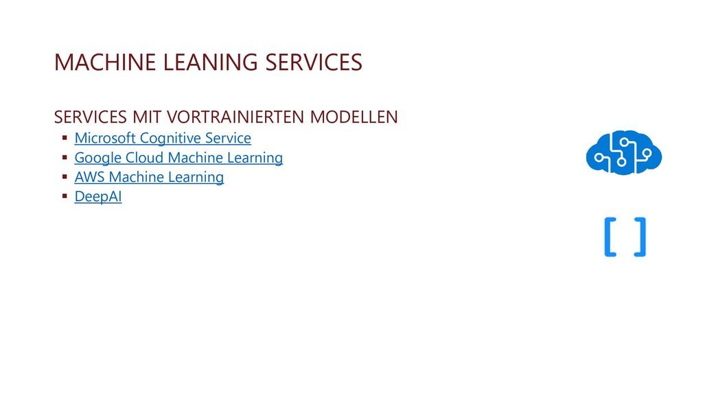 MACHINE LEANING SERVICES SERVICES MIT VORTRAINI...