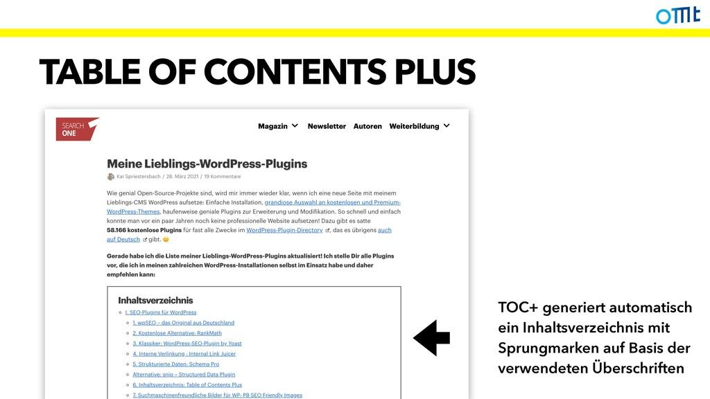 TABLE OF CONTENTS PLUS TOC+ generiert automatis...