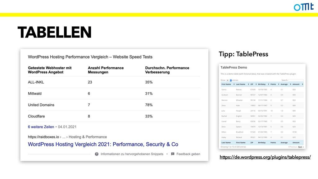 TABELLEN https://de.wordpress.org/plugins/table...