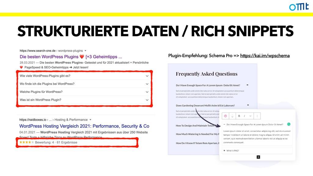 STRUKTURIERTE DATEN / RICH SNIPPETS Plugin-Empf...