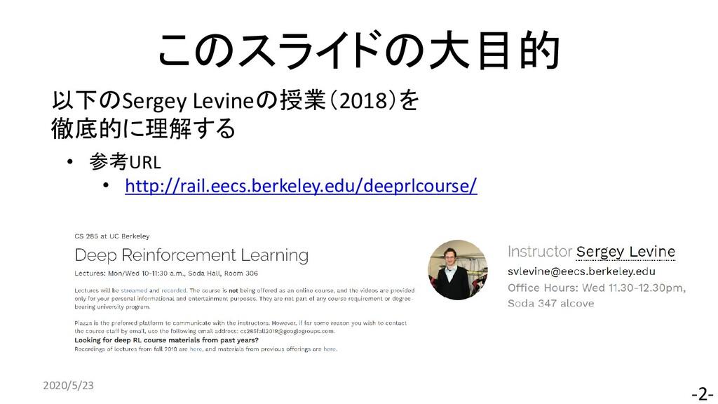 このスライドの大目的 2020/5/23 -2- 以下のSergey Levineの授業(20...