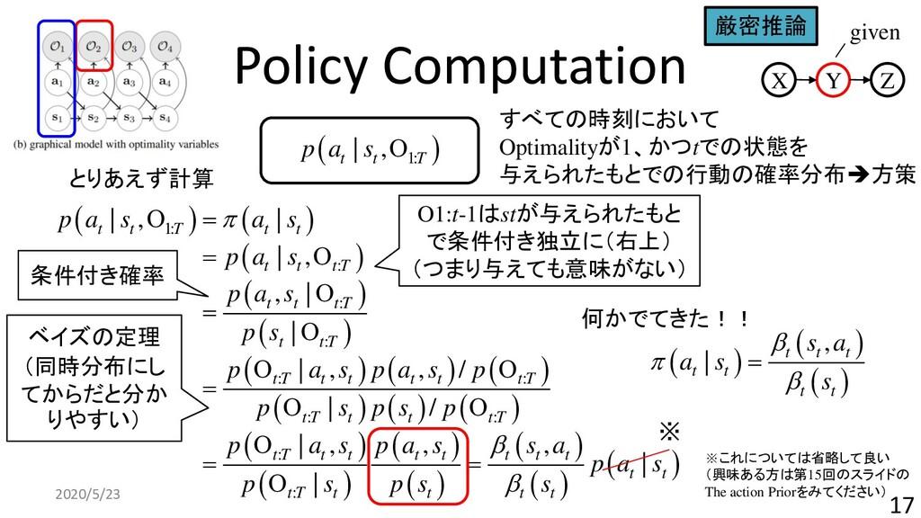 Policy Computation 2020/5/23 17 ( ) 1:   , t t ...