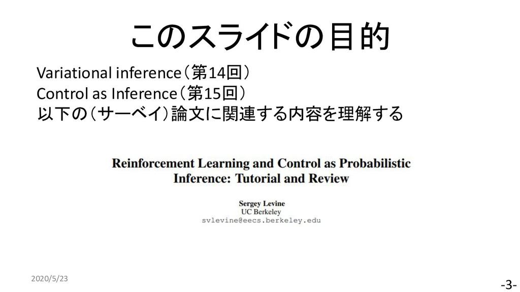 このスライドの目的 2020/5/23 -3- Variational inference(第...