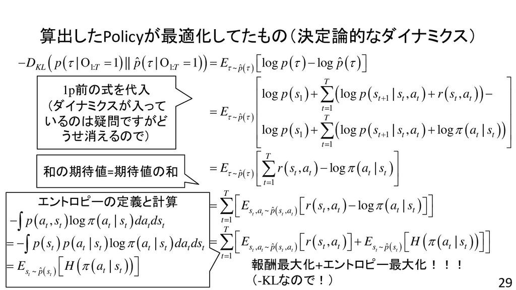 算出したPolicyが最適化してたもの(決定論的なダイナミクス) 29 ( ) ( ) ( )...