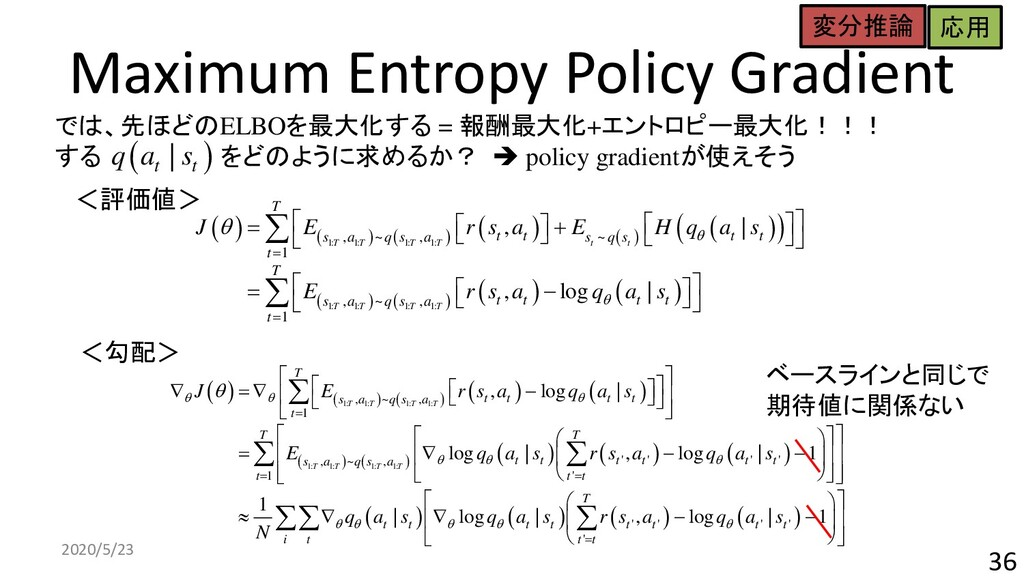 Maximum Entropy Policy Gradient 2020/5/23 36 ( ...
