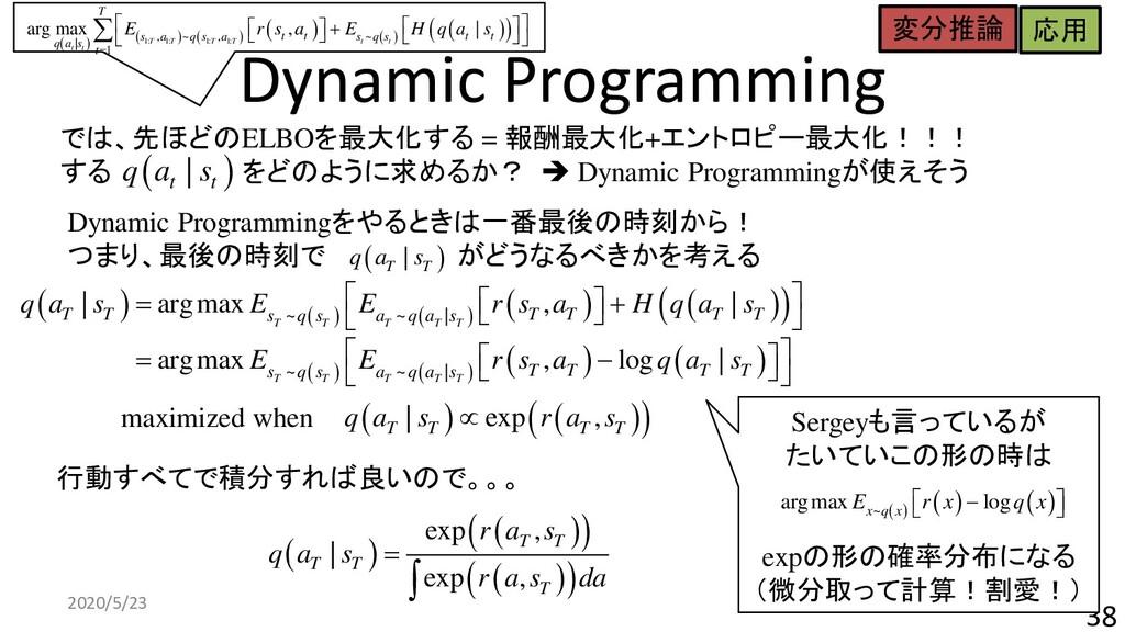 Dynamic Programming 2020/5/23 38 応用 では、先ほどのELBO...