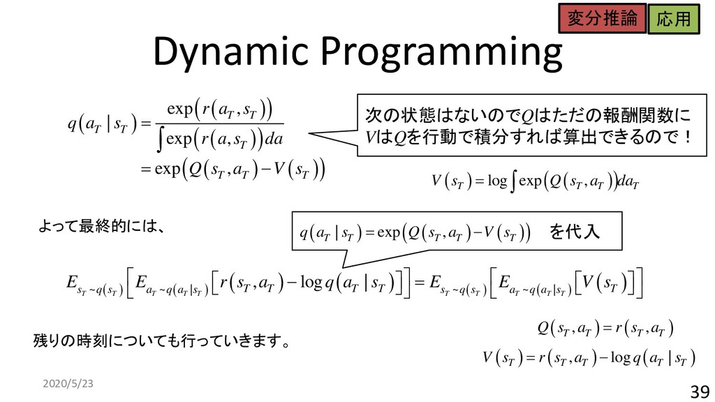 を代入 Dynamic Programming 2020/5/23 39 ( ) ( ) ( ...