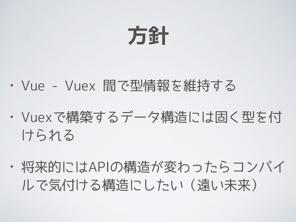 方針 • Vue - Vuex 間で型情報を維持する • Vuexで構築するデータ構造には固く...
