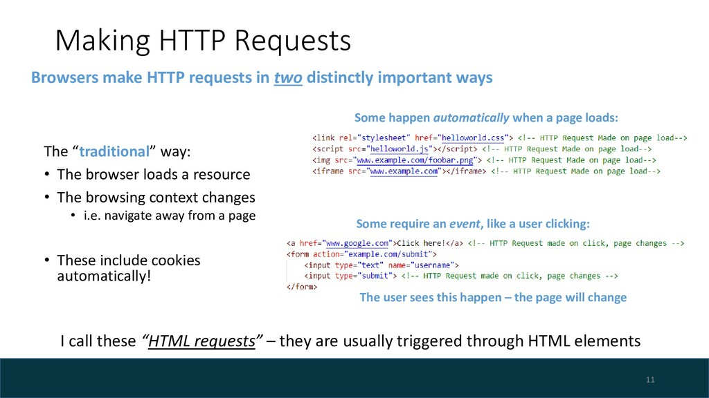 "Making HTTP Requests The ""traditional"" way: • T..."