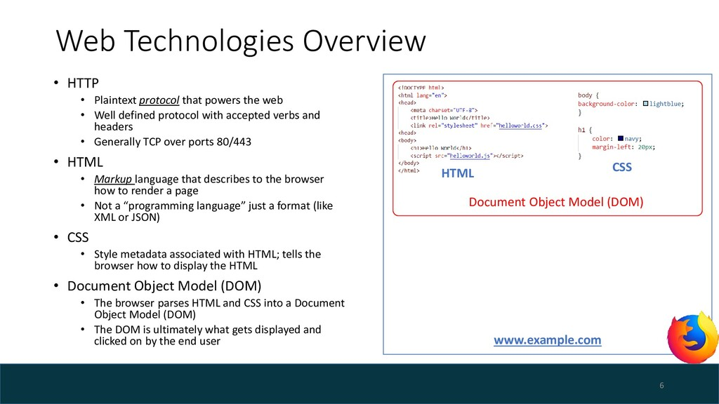 Web Technologies Overview • HTTP • Plaintext pr...