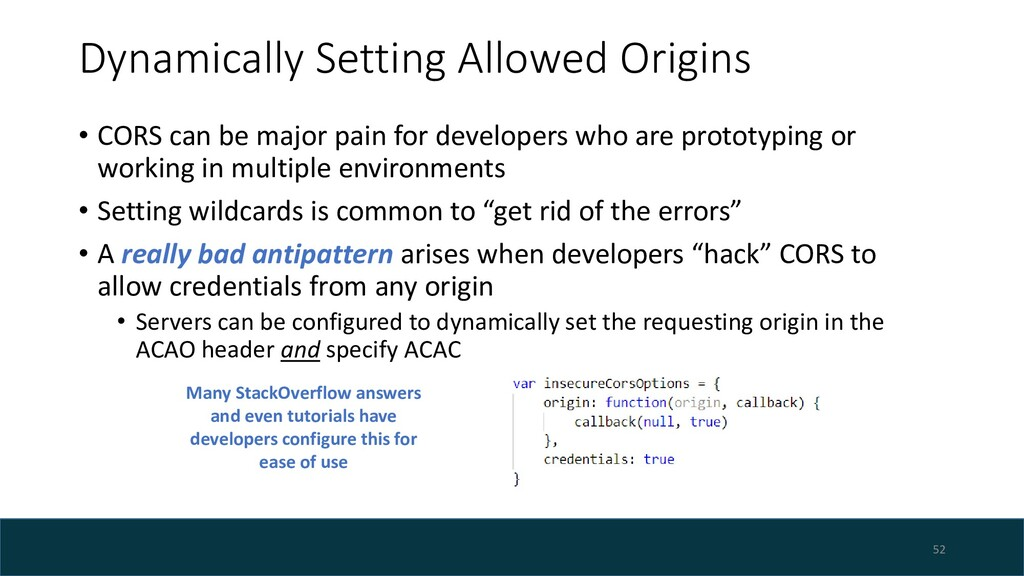 Dynamically Setting Allowed Origins • CORS can ...