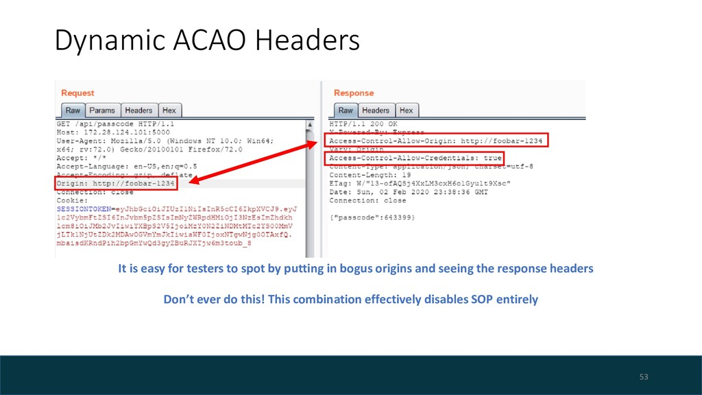 Dynamic ACAO Headers 53 It is easy for testers ...