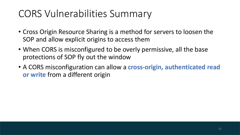 CORS Vulnerabilities Summary • Cross Origin Res...