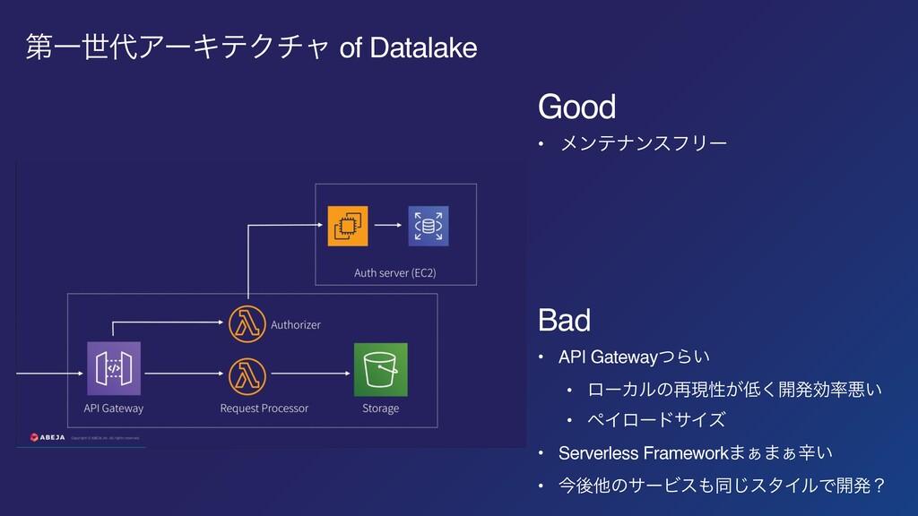 ୈҰੈΞʔΩςΫνϟ of Datalake Good • ϝϯςφϯεϑϦʔ Bad • ...