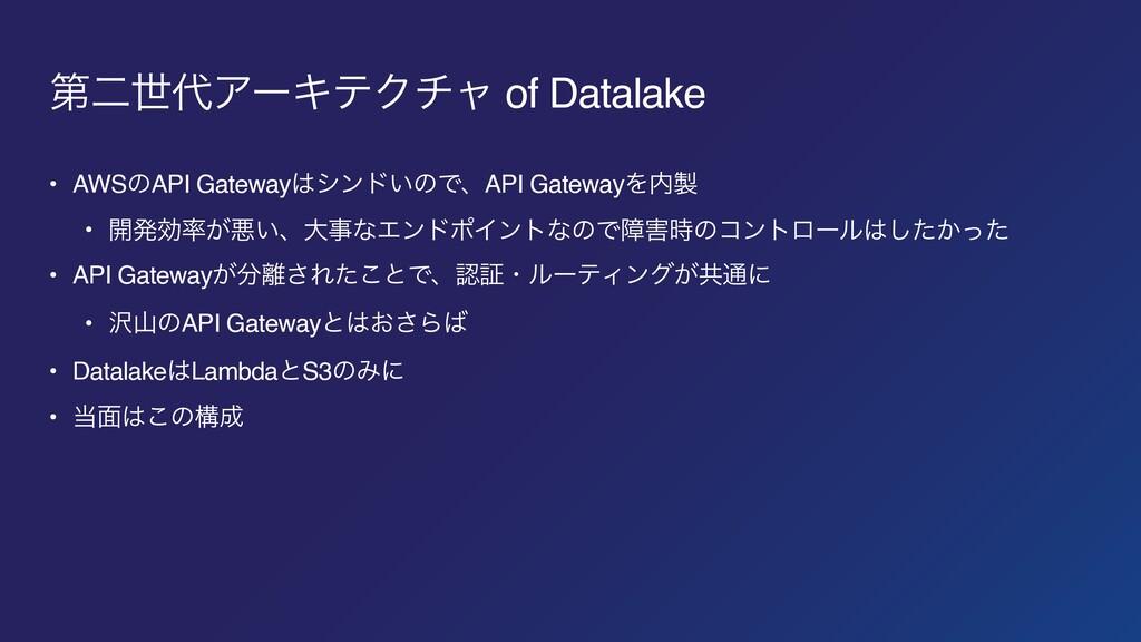ୈೋੈΞʔΩςΫνϟ of Datalake • AWSͷAPI Gatewayγϯυ͍ͷ...